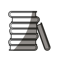 Pile books encyclopedia learn shadow line vector