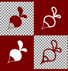 Radish simple sign bordo and white icons vector