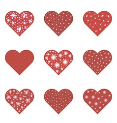 Red hearts set vector image vector image