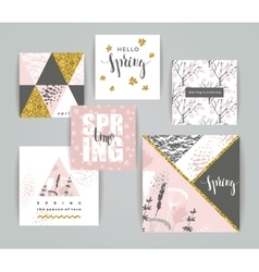 Set of artistic creative spring cards vector image vector image