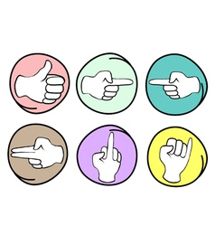 Set of Different Hand Signs on Round Background vector image vector image
