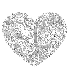 Set of Italian food cartoon doodle objects vector image