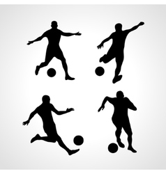 Set of Silhouettes of Soccer Players vector image