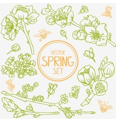 spring branches set vector image vector image