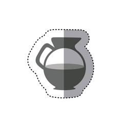 Sticker monochrome silhouette glass jar of coffee vector
