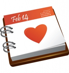 valentines calendar with a heart vector image
