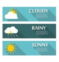 Weather Banners with Sun and Moon in Flat Style vector image