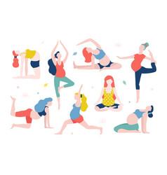 yoga for pregnant women flat vector image