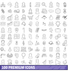 100 premium icons set outline style vector