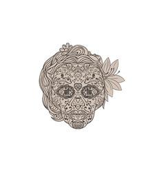 Female sugar skull calavera retro vector