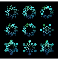 Isolated abstract turquoise round shape dotted vector