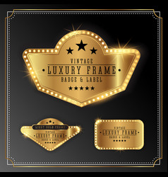golden luxury frame with bulb light border vector image