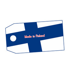finland flag on price tag with word made in vector image