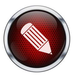 Red honeycomb pen icon vector image