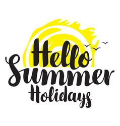 Travel summer banner with inscription sun gulls vector