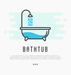 Bathtub and shower with running water vector