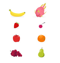 Set of flat fruits isolated white background vector