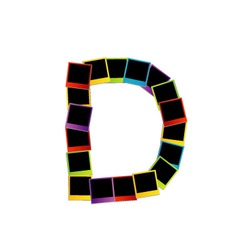 Alphabet d with colorful polaroids vector