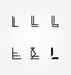Various letter l big logo typo pack vector