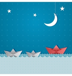 Paper boats sailing vector