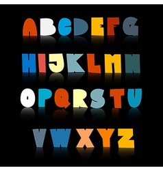 Colorful Funny Alphabet Set Isolated on Black vector image