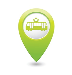 Tram icon green map pointer vector