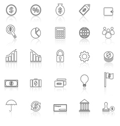Finance line icons with reflect on white vector