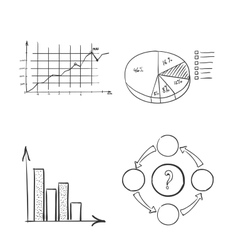 Hand draw doodle dot bar pie charts diagrams and vector
