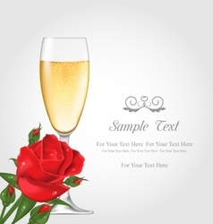 Postcard with glass of champagne and rose vector