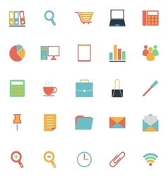Office color icons on white background vector