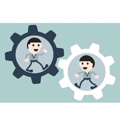 Two businessman in cogwheel vector