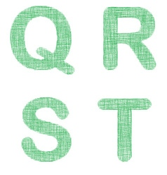 Green fabric font set - letters q r s t vector
