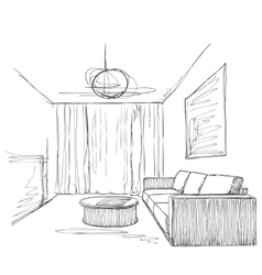 Room interior sketch hand drawn sofa and chair vector