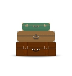 Different retro suitcases isolated on white vector