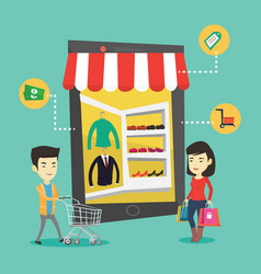 Asian people doing shopping online vector