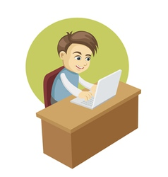 boy in front of a laptop computer vector image