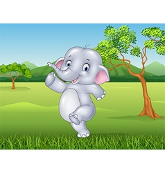 Cartoon happy elephant in the jungle vector image vector image