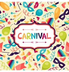 Celebration festive background with carnival icons vector