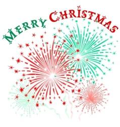 Christmas fireworks vector image