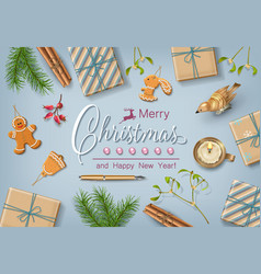 Christmas flat lay design vector