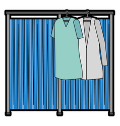 Doctor and patient coats hanging icon vector