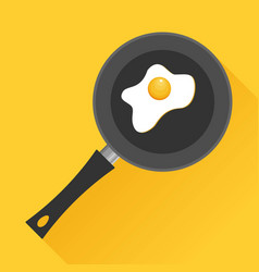 Fried egg in a frying pan isolated on white vector