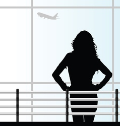 girl on the airport vector image vector image