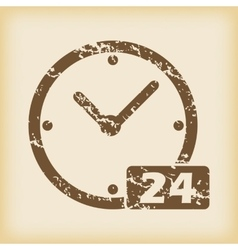 Grungy 24 hours icon vector