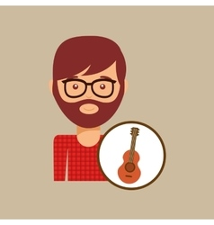 Guitar retro music hipster man vector