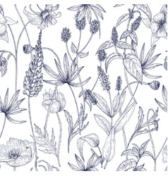 hand drawn monochrome floral seamless pattern with vector image