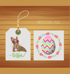 happy easter card with rabbit and egg vector image vector image