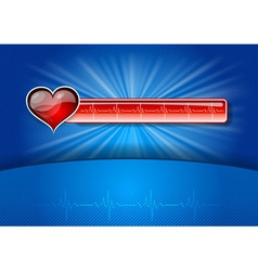 heart cardiogram on the blue background vector image vector image