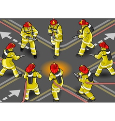 Isometric firefighter extinguisher in eight vector
