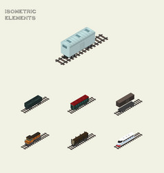Isometric transport set of delivery tank subway vector